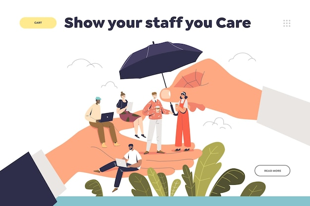 Care for your staff concept of landing page with boss hand holding tiny cartoon workers
