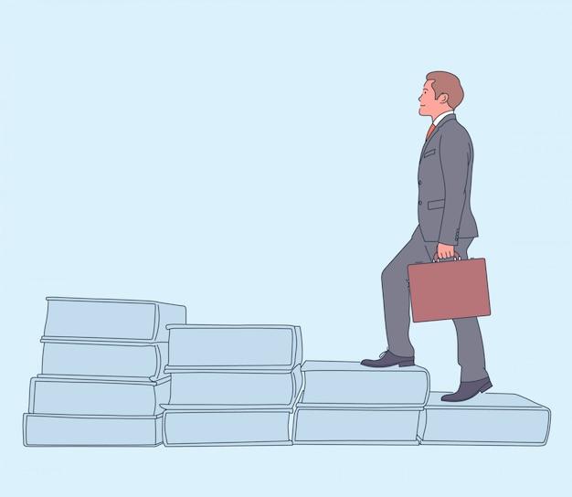 キャリアアップ、成功、達成。幸せな成功したビジネスマンがケースでキャリアのはしごを移動します。図。