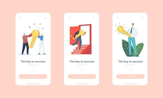 경력 향상, 비즈니스 작업 솔루션 모바일 앱 페이지 온보드 화면 템플릿. 작은 비즈니스 캐릭터는 문을 여는 거대한 열쇠를 가지고 있습니다. 성공 개념에 대한 동기 부여. 만화 사람들 벡터 일러스트 레이 션