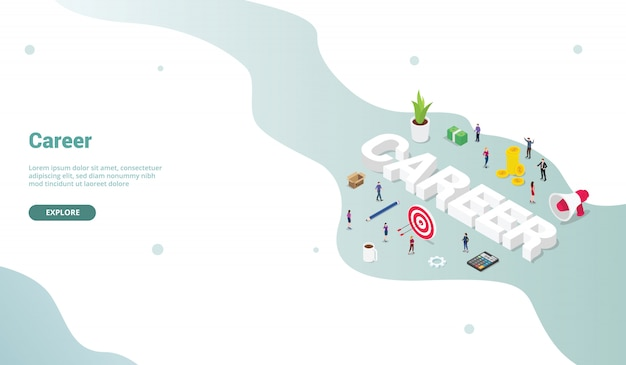 Career business work concept with isometric modern flat style for landing homepage design website