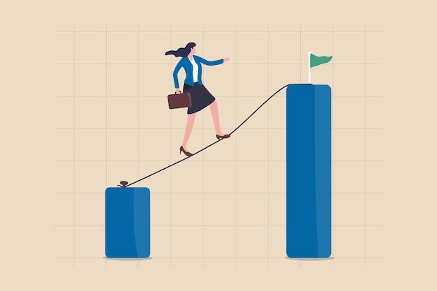 Карьерный вызов или рост и совершенствование, принятие риска для достижения успеха или лидерство для преодоления трудностей для достижения целевой концепции, уверенная деловая женщина, идущая по канату к более высокой цели.