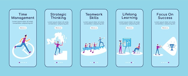 Career coaching onboarding mobile app screen flat template. business development training. walkthrough website steps with characters. ux, ui, gui smartphone cartoon interface, case prints set