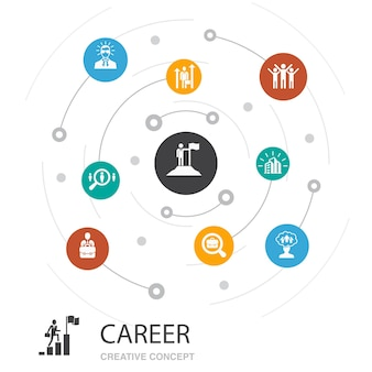 간단한 아이콘으로 경력 색 원 개념입니다. 회사, 리더십, 고용, 구직과 같은 요소가 포함되어 있습니다.