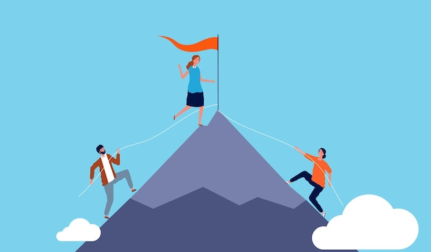 キャリア競争。女性の勝者、ビジネスマンは成功へと登ります。自己成長の比喩のベクトル図。成功した女性のリーダーシップ、ビジネスキャリアパーソン