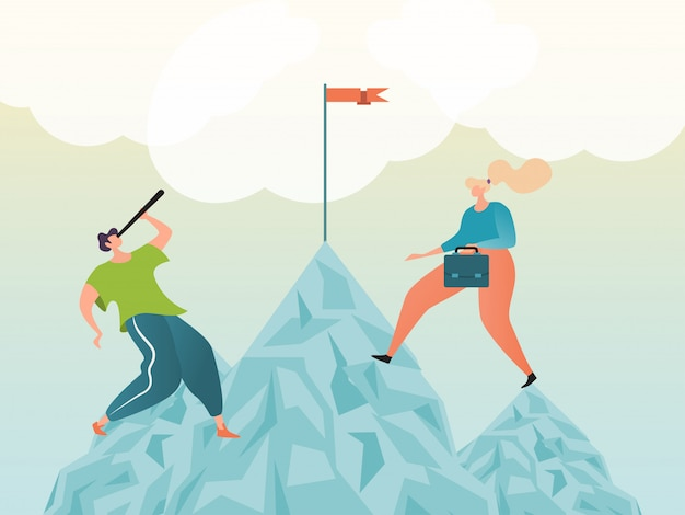 Career concept, growth progress and achievement business success as climbing mountain, illustration design, cartoon style.