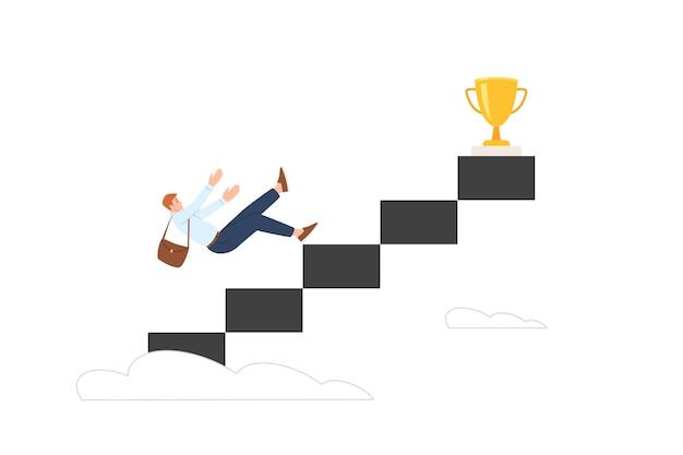 Концепция снижения карьеры. метафора кризиса и неспособности достичь бизнес-целей. падающий бизнесмен с лестницы. векторная иллюстрация изолированные
