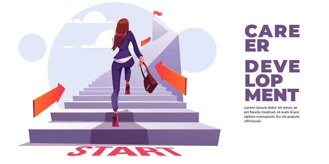 Баннер развития карьеры. концепция самостоятельной построения карьеры, личностного роста, профессионального роста.