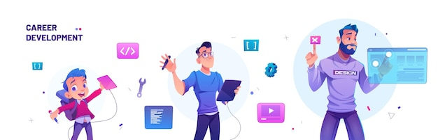 Career development banner with kid to designer and leader