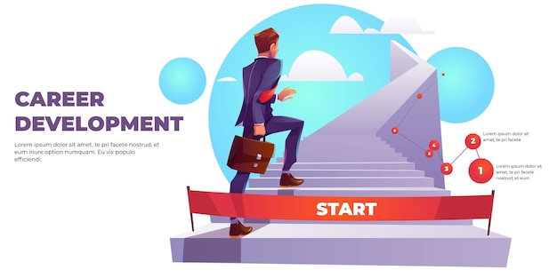 Баннер инфографика развития карьеры, лестница к успеху.