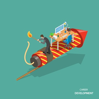 Career development isometric flat vector concept.