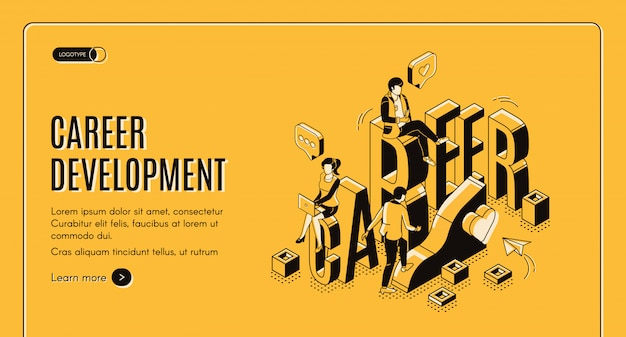 Career development isometric landing page template