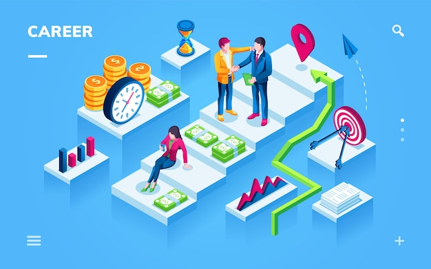 Career development isometric view for smartphone page