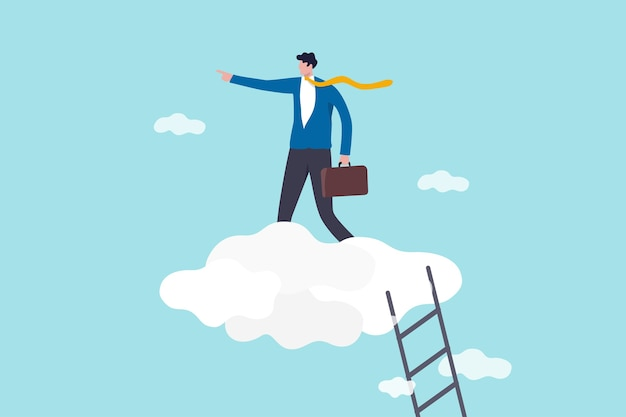 Career development, senior management position, leadership vision, success business strategy concept, confidence businessman leader climbing stair to high cloud to guide company to the right direction