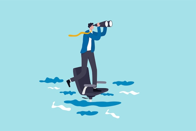 Career future or job opportunity, being ignore or overlook by boss or colleagues, uncertainty in work or career path concept, lonely businessman standing look for near future on sinking office chair. Premium Vector
