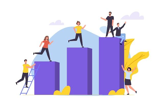 경력 성장, 비즈니스 목표 달성 개념입니다. 오름차순 차트에 등반하는 캐릭터. 벡터 일러스트 레이 션 평면 스타일