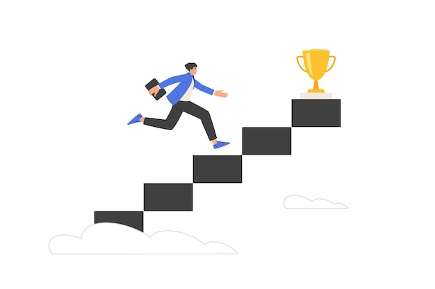 Career growth concept. goal striving metaphor. a businessman climbs the steps of the stairs to the cup. strategy of success in business. move one level up. vector illustration isolated