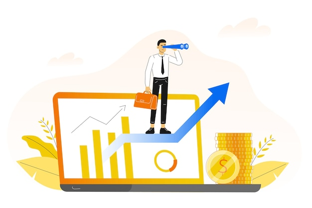 Career growth concept with business man standing on arrow