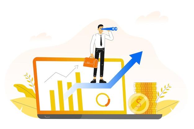 화살표에 서있는 사업가와 경력 성장 개념