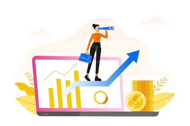 矢印の上に立ってビジネス女性とのキャリアの成長の概念