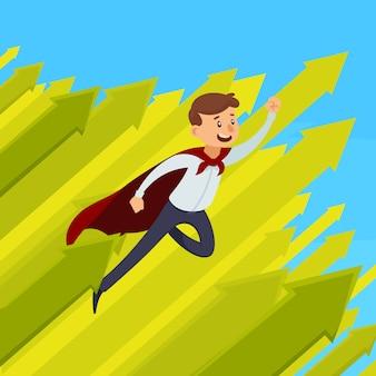 緑色の矢印ベクトル図で青い背景に赤いマントで飛んでいるビジネスマンのキャリア成長デザイン