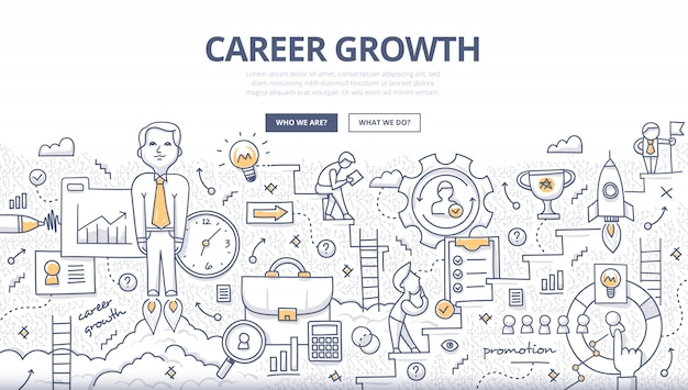 Career growth doodle concept