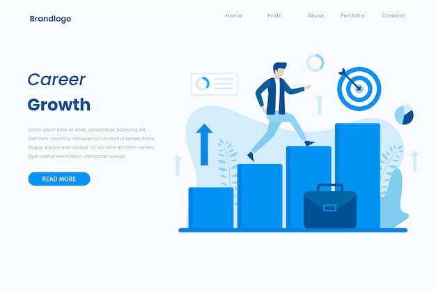 Career growth illustration landing page concept