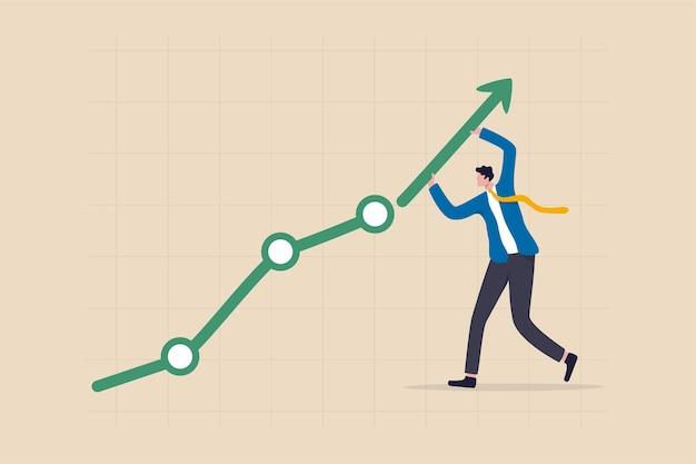 경력 성장 또는 비즈니스 성과, 경제 회복 개념에서 상승하는 주식 시장