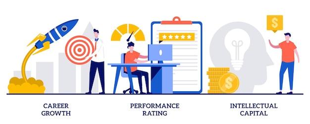 キャリアの成長、パフォーマンスの評価、小さな人々との知的資本の概念。従業員効率セット。会社の挑戦と成功、職位採点システムの比喩。