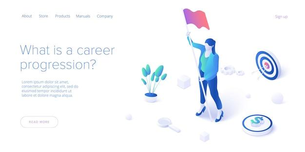 Карьерный рост с молодой женщиной, держащей флаг цели