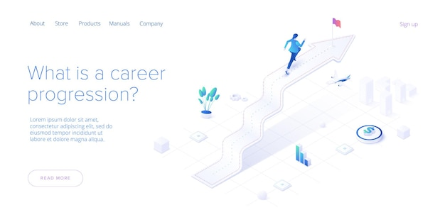 Career growth with young woman running to goal flag. web template