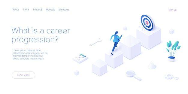 Career growth with young woman running to goal flag