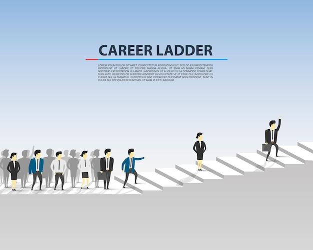 Деловые люди по карьерной лестнице на белом фоне. векторная иллюстрация