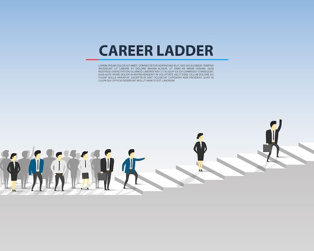 Career ladder business people on the white background. vector illustration