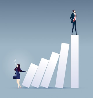 Career ladder. businesswoman pushing bar chart with other man on top