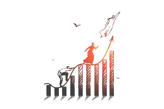 Карьерная лестница, иллюстрация концепции конкуренции