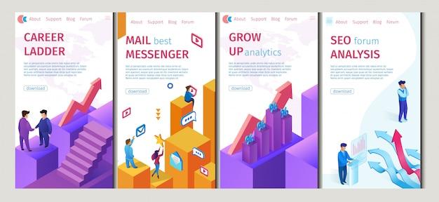 Career ladder, mail best messenger set flat banner