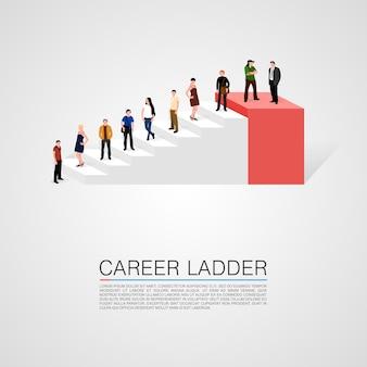 Карьерная лестница с концептуальными людьми. векторная иллюстрация.