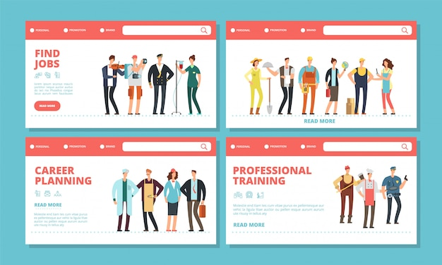 Career landing pages. find jobs, career planning banners temlpate. different professions vector characters