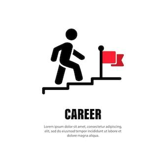 キャリアラインアイコン。旗に向かって2階を歩いているビジネスマン。進捗状況と目標の達成。願望、目標の達成、モチベーション、成長、リーダーシップ、成功。ベクターeps10。