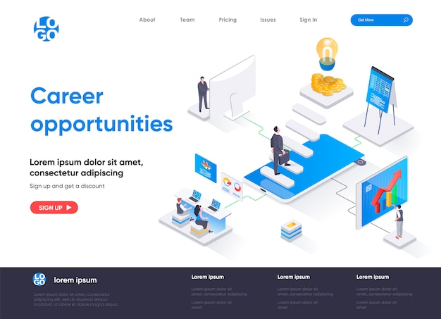 Career opportunities isometric landing page