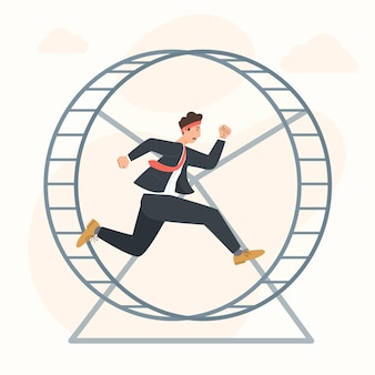 Career stagnation concept businessman running in hamster wheel Premium Vector