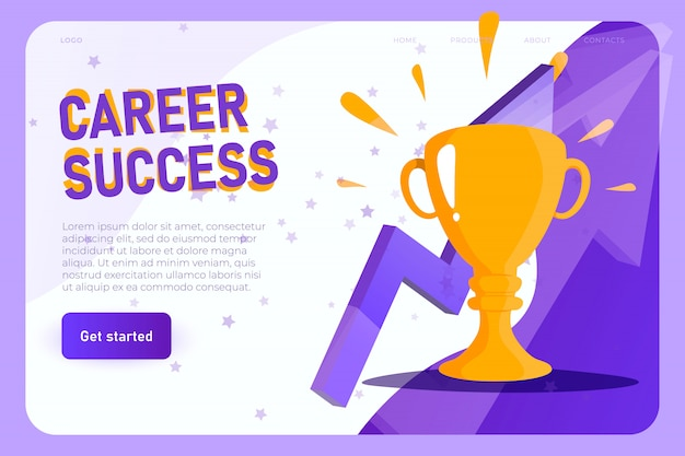 Career success with champion cup in flat style, modern winning cup. career success landing page concept, vector