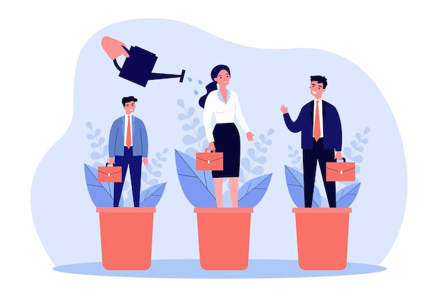 Career training concept. employees standing in flowerpots, hand watering plants and people.  illustration for business professionals growth and development topics
