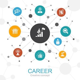 아이콘으로 경력 유행 웹 개념입니다. 회사, 리더십, 고용, 구직과 같은 아이콘이 포함되어 있습니다.
