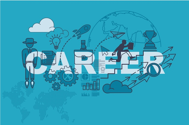 Career website banner concept with thin line flat design
