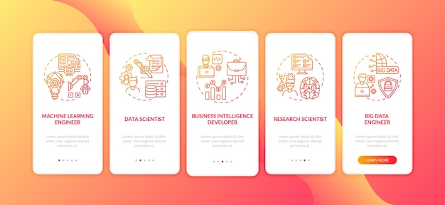 Careers in ai onboarding mobile app page screen with concepts