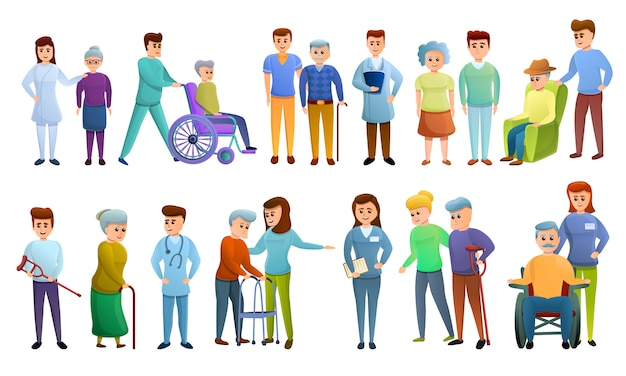 Caregiver characters set, cartoon style