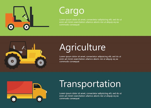 Cargo, agriculture, transportation web banners