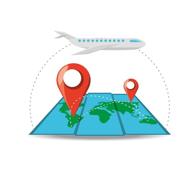 Грузовой самолет и карта с разным местоположением