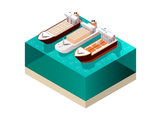 Cargo boats isometric composition